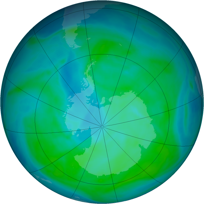 Antarctic ozone map for 15 January 2008
