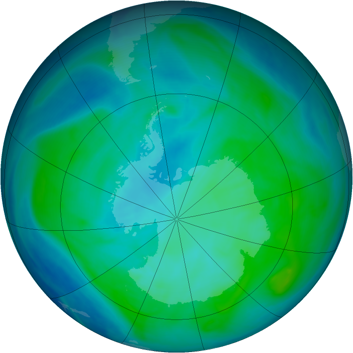 Antarctic ozone map for 20 January 2008