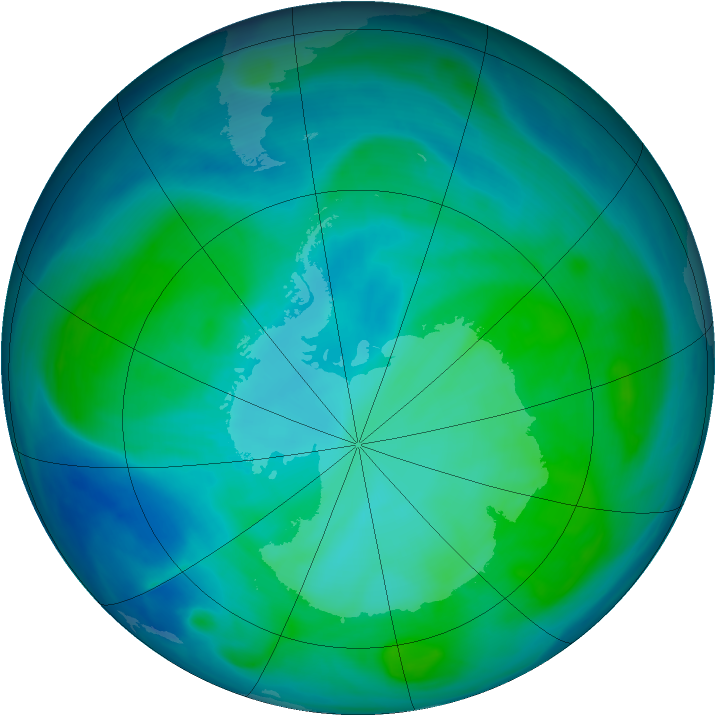 Antarctic ozone map for 22 January 2008
