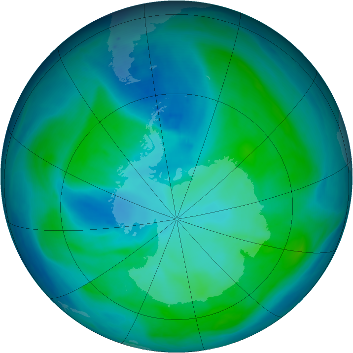 Antarctic ozone map for 25 January 2008