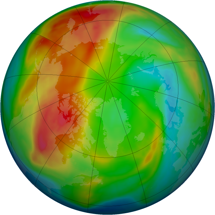 Arctic ozone map for 29 January 2008