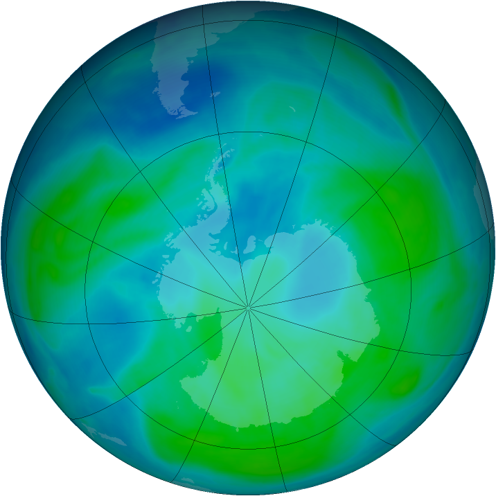 Antarctic ozone map for 29 January 2008