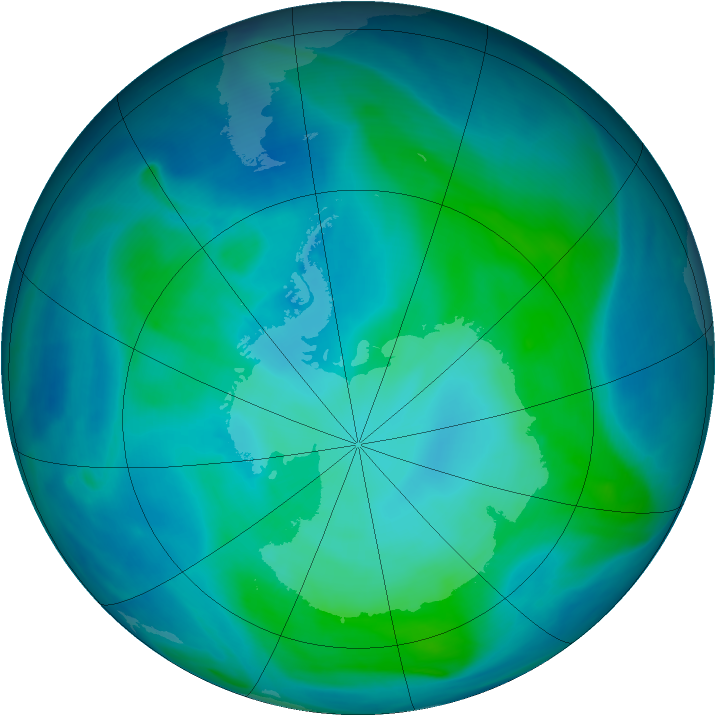 Antarctic ozone map for 10 February 2008