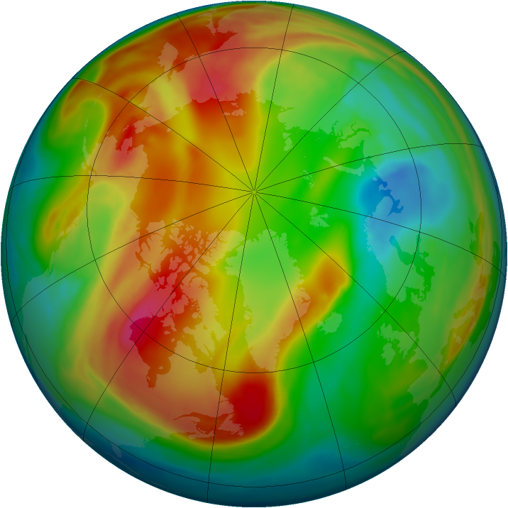Arctic ozone map for 12 February 2008
