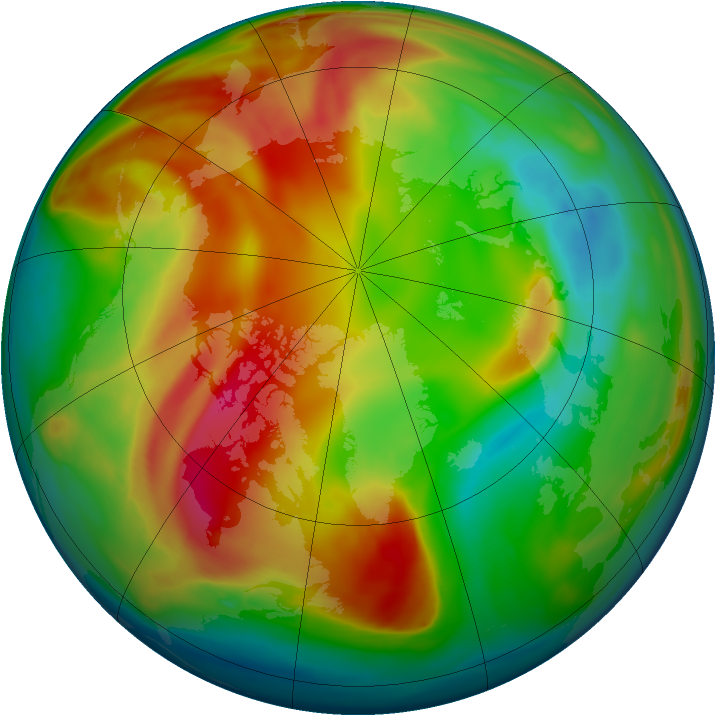Arctic ozone map for 13 February 2008