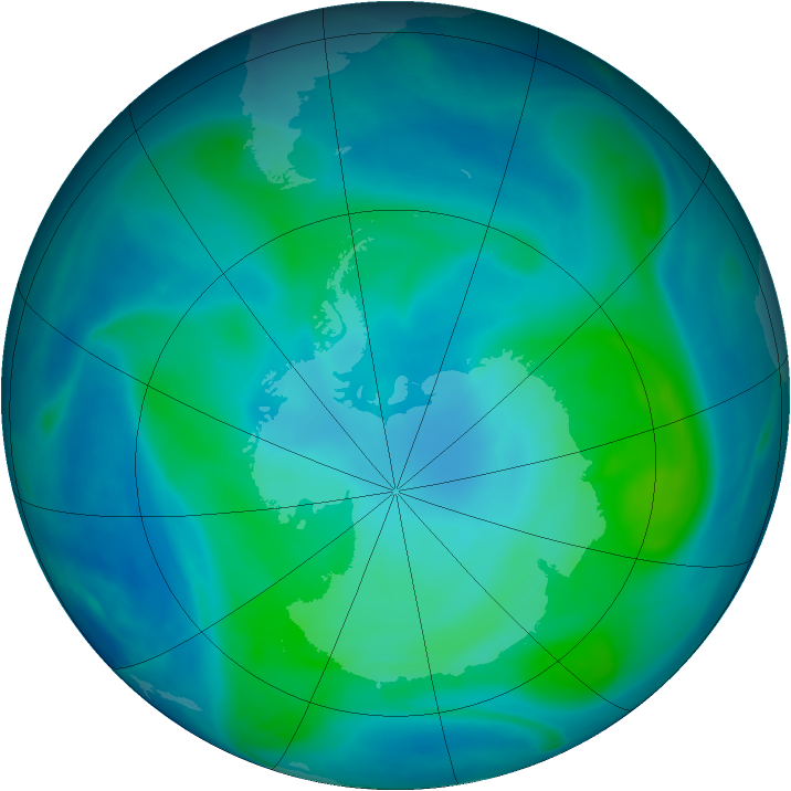 Antarctic ozone map for 13 February 2008