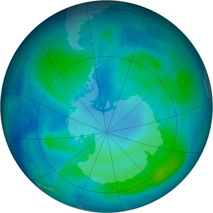 Antarctic ozone map for 15 February 2008