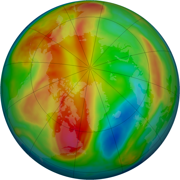 Arctic ozone map for 16 February 2008