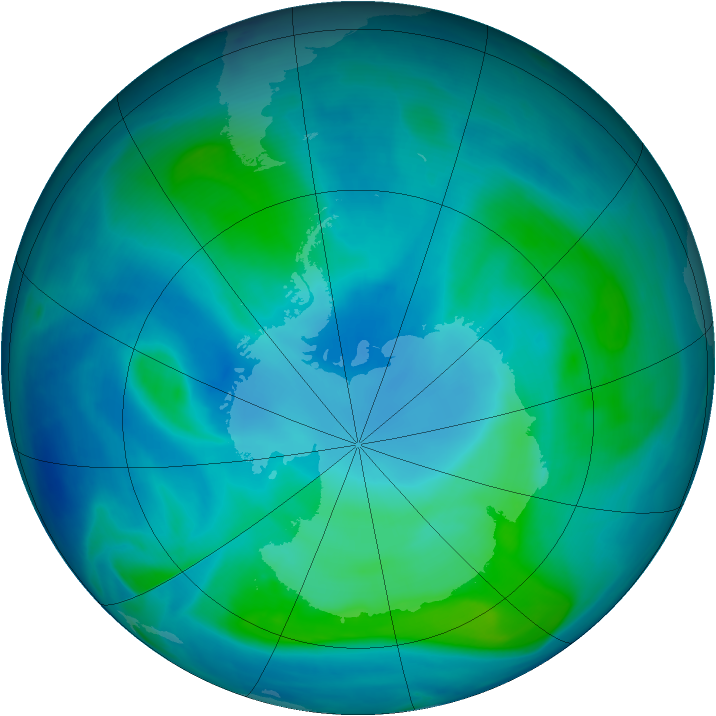 Antarctic ozone map for 16 February 2008