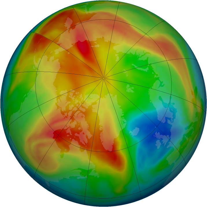 Arctic ozone map for 18 February 2008