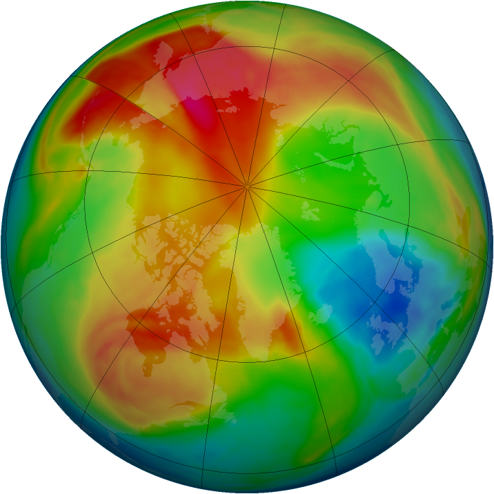 Arctic ozone map for 19 February 2008