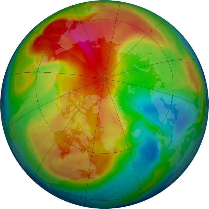 Arctic ozone map for 20 February 2008