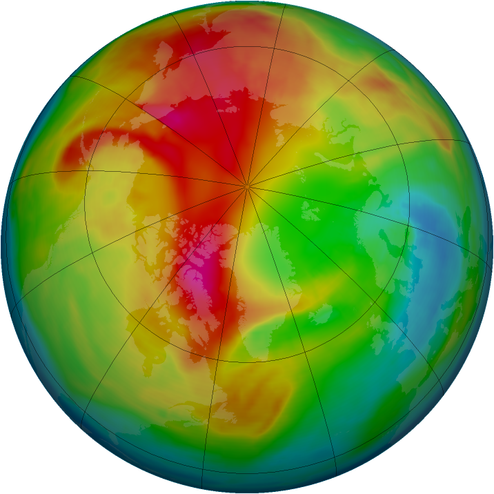 Arctic ozone map for 22 February 2008
