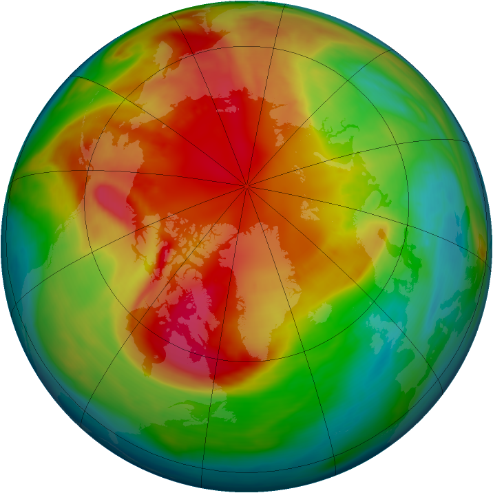 Arctic ozone map for 25 February 2008