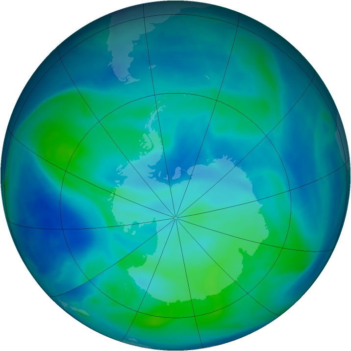 Antarctic ozone map for 25 February 2008