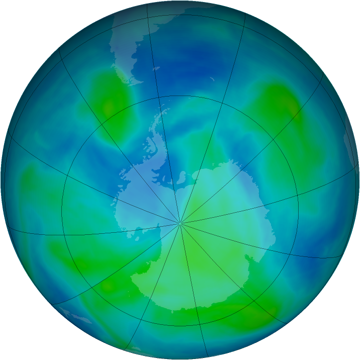 Antarctic ozone map for 29 February 2008