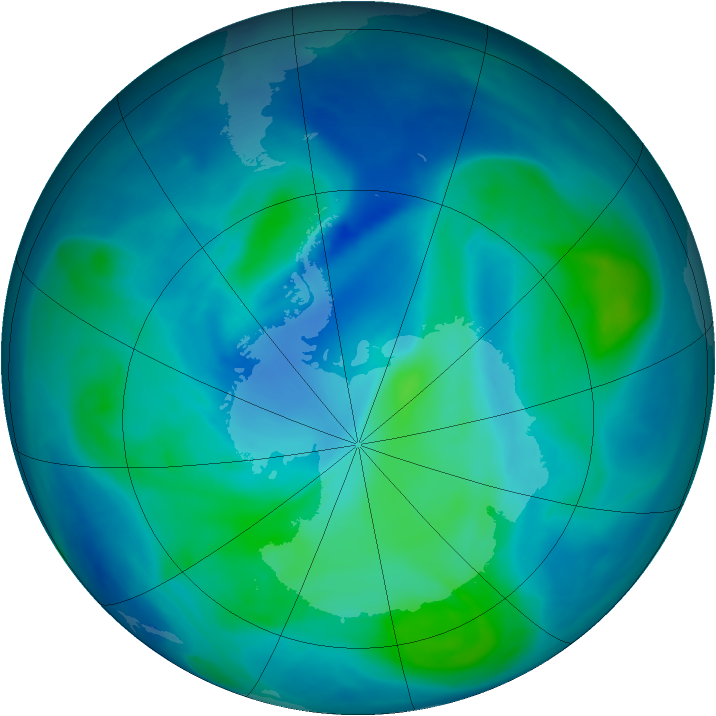 Antarctic ozone map for 01 March 2008