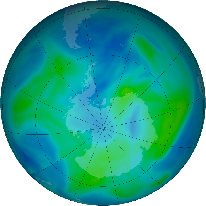 Antarctic ozone map for 04 March 2008