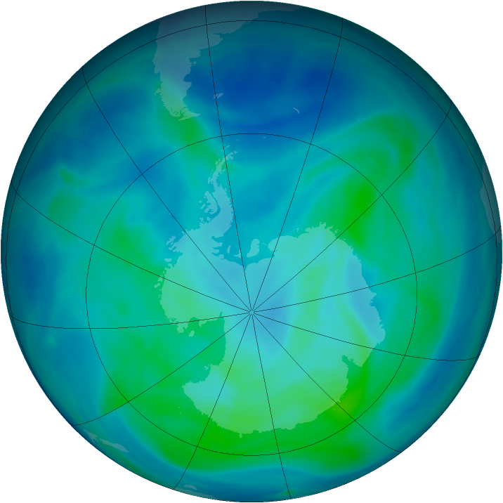 Antarctic ozone map for 08 March 2008