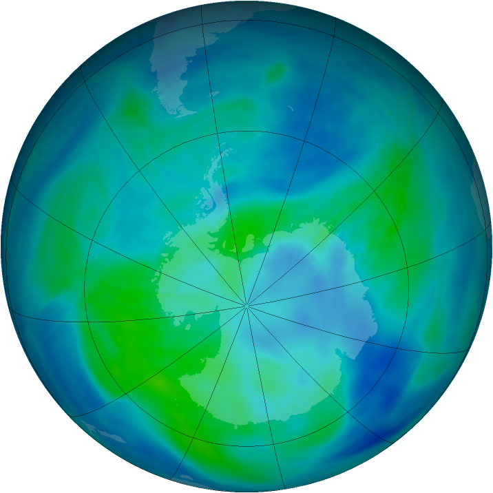 Antarctic ozone map for 18 March 2008