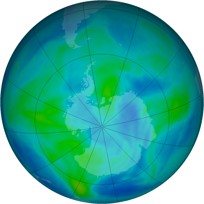 Antarctic ozone map for 20 March 2008