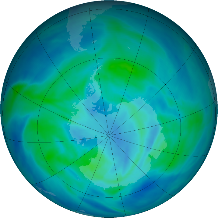 Antarctic ozone map for 22 March 2008