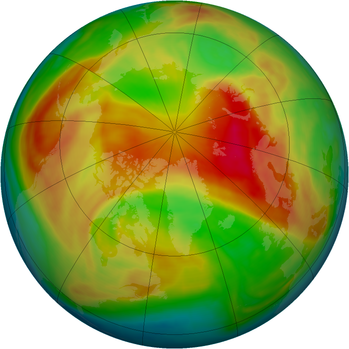 Arctic ozone map for 24 March 2008