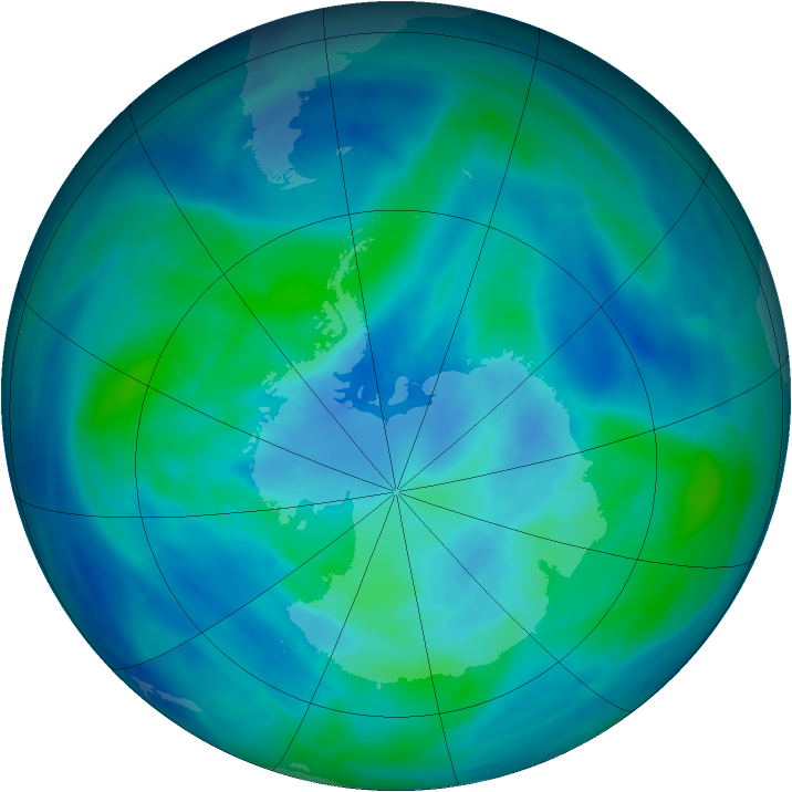 Antarctic ozone map for 29 March 2008