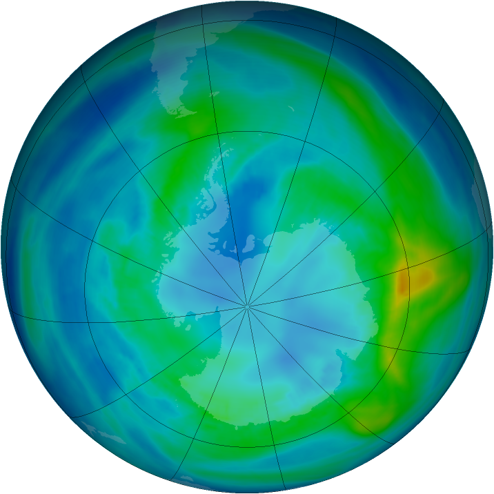 Antarctic ozone map for 16 April 2008