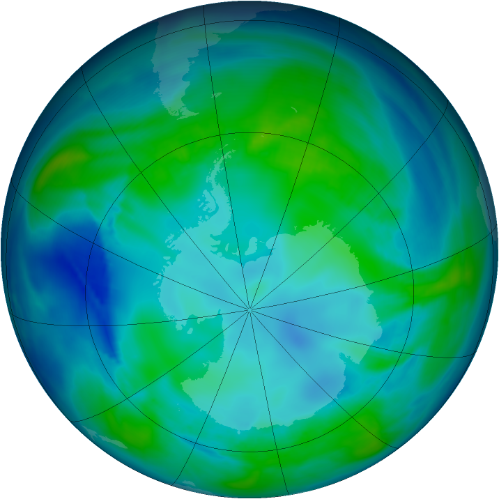Antarctic ozone map for 01 May 2008