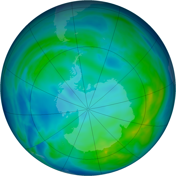 Antarctic ozone map for 10 May 2008