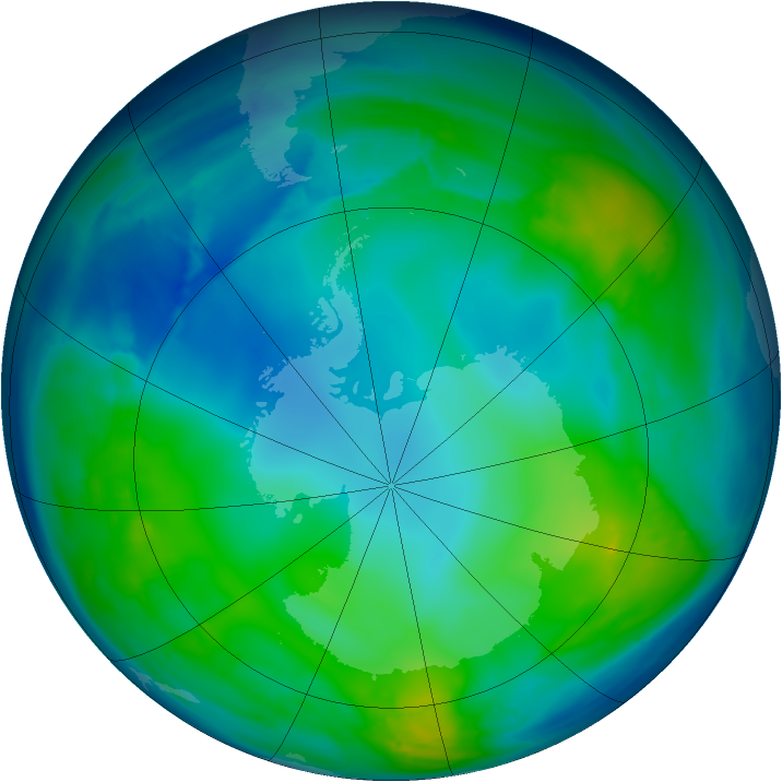 Antarctic ozone map for 15 May 2008