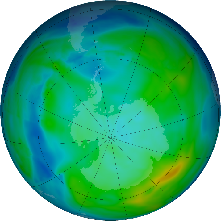 Antarctic ozone map for 21 May 2008