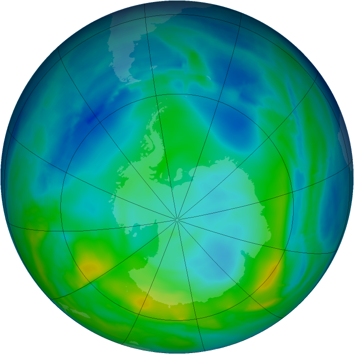 Antarctic ozone map for 29 May 2008