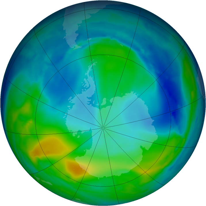 Antarctic ozone map for 31 May 2008