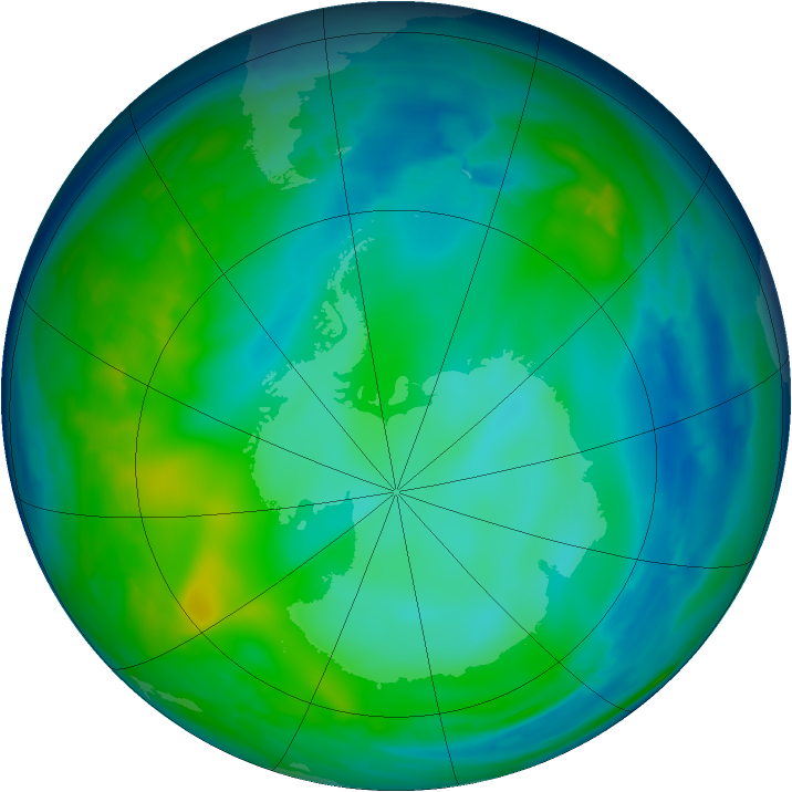 Antarctic ozone map for 04 June 2008