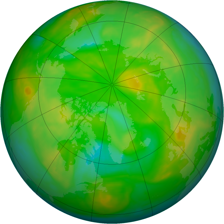 Arctic ozone map for 15 June 2008
