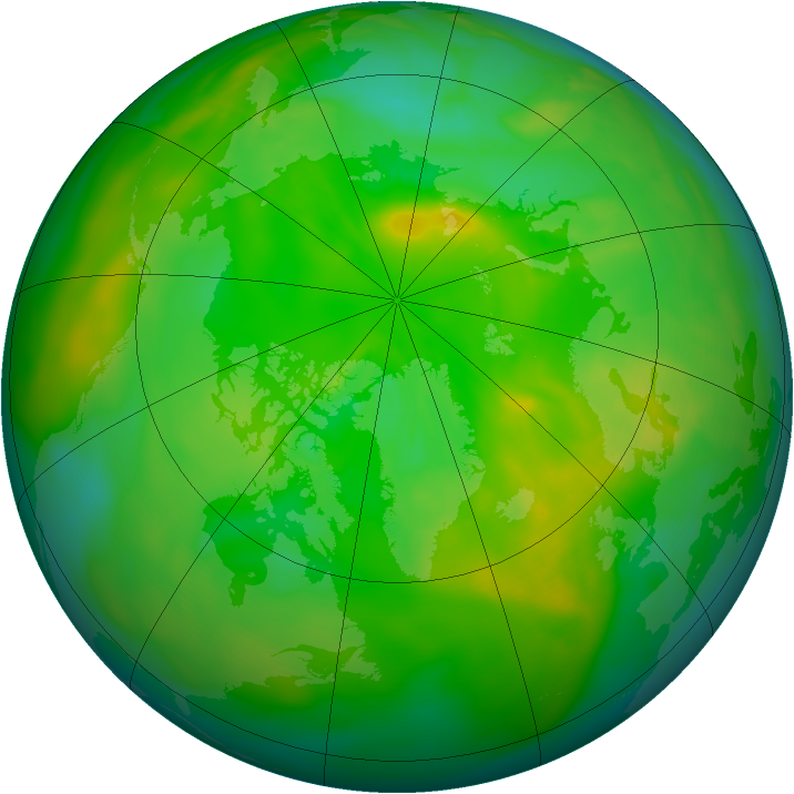 Arctic ozone map for 21 June 2008