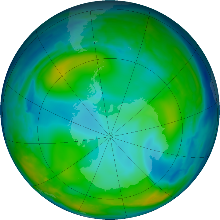 Antarctic ozone map for 26 June 2008
