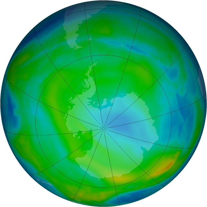 Antarctic ozone map for 01 July 2008