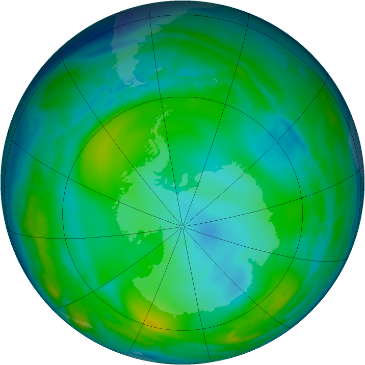 Antarctic ozone map for 03 July 2008