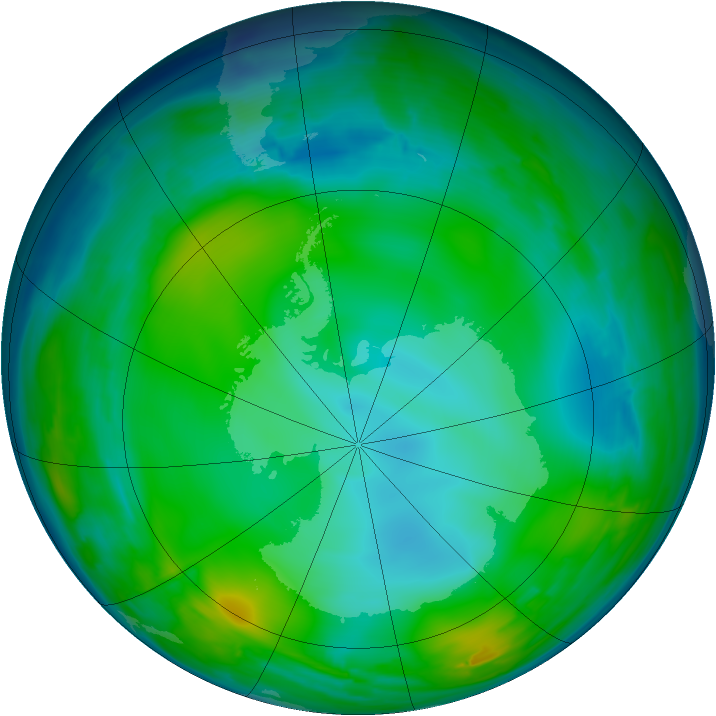 Antarctic ozone map for 04 July 2008