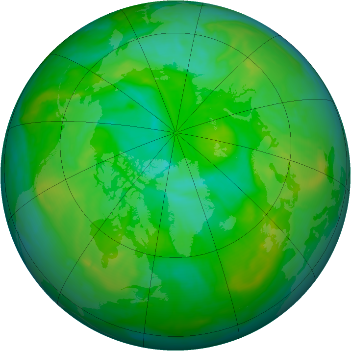 Arctic ozone map for 10 July 2008