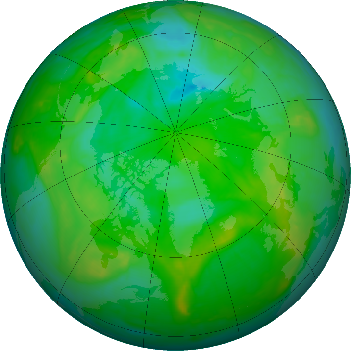 Arctic ozone map for 13 July 2008