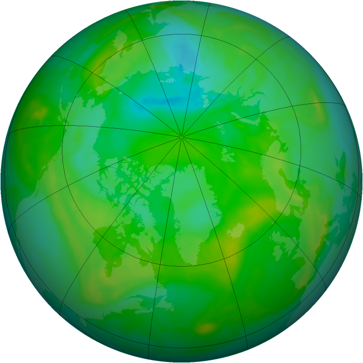Arctic ozone map for 14 July 2008