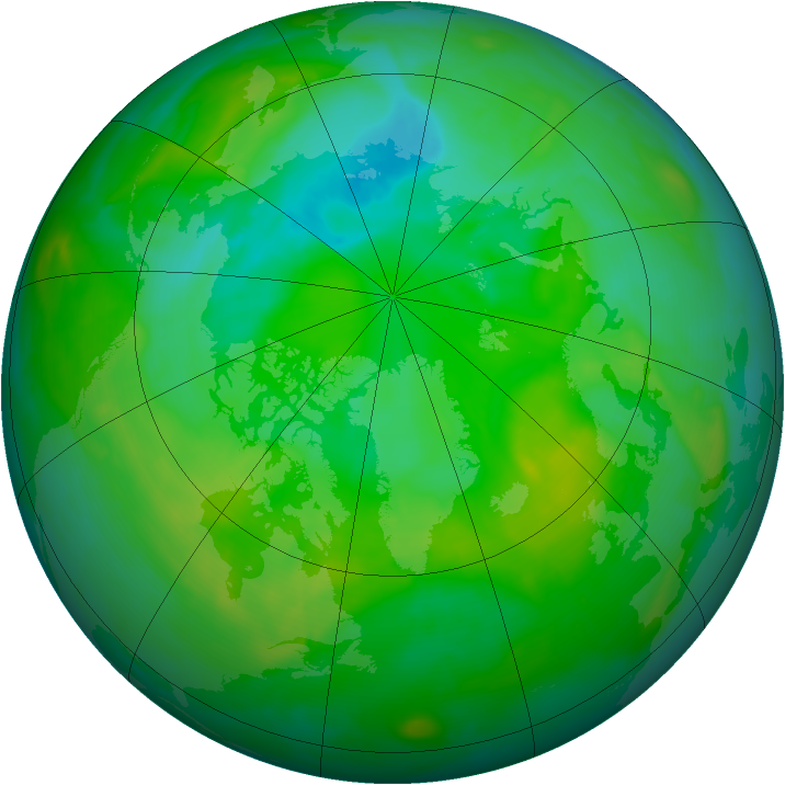 Arctic ozone map for 15 July 2008