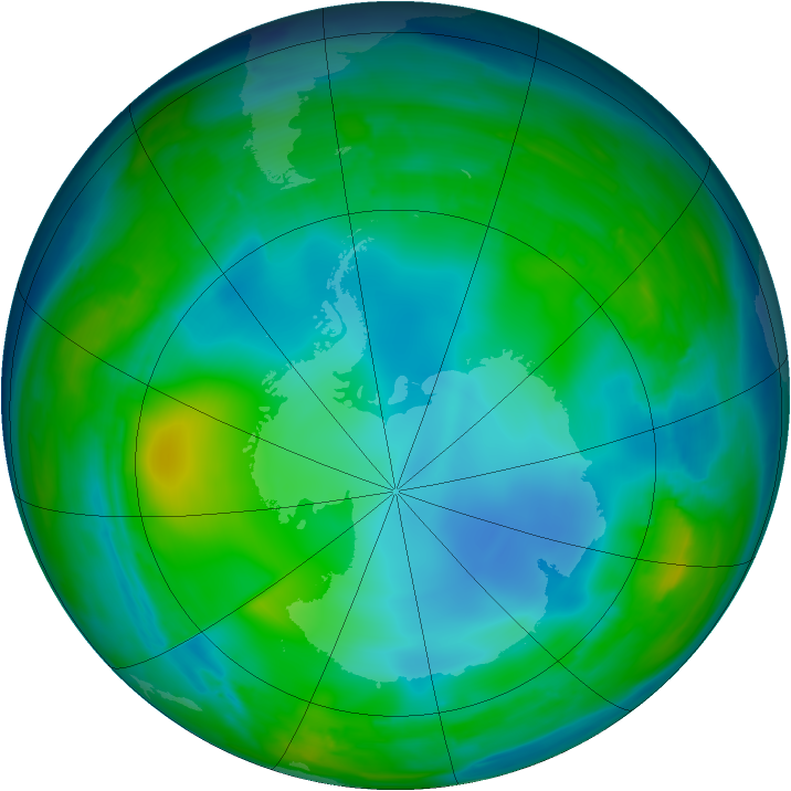 Antarctic ozone map for 19 July 2008