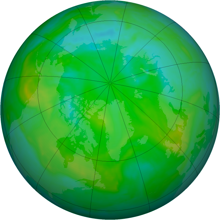 Arctic ozone map for 20 July 2008