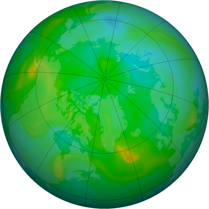 Arctic ozone map for 24 July 2008