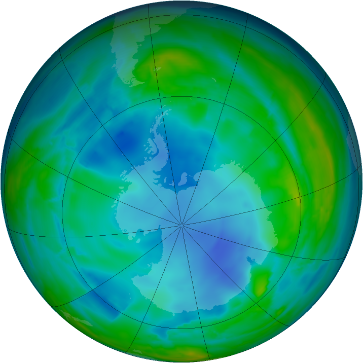 Antarctic ozone map for 31 July 2008